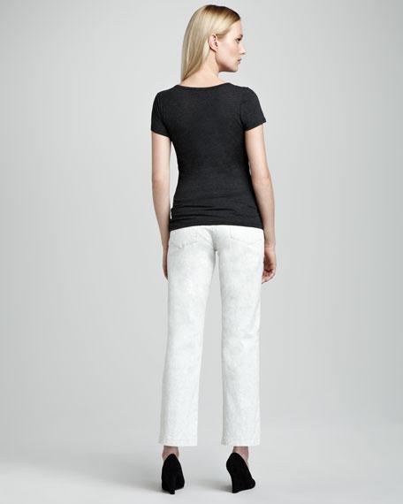 Audrey Lace-Print Ankle Pants, Women's