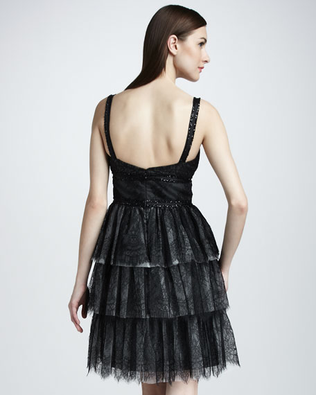 Tiered Lace Cocktail Dress