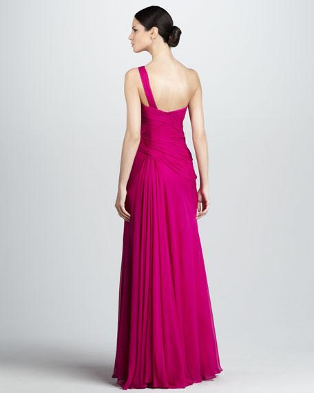 One-Shoulder Slit Detail Gown