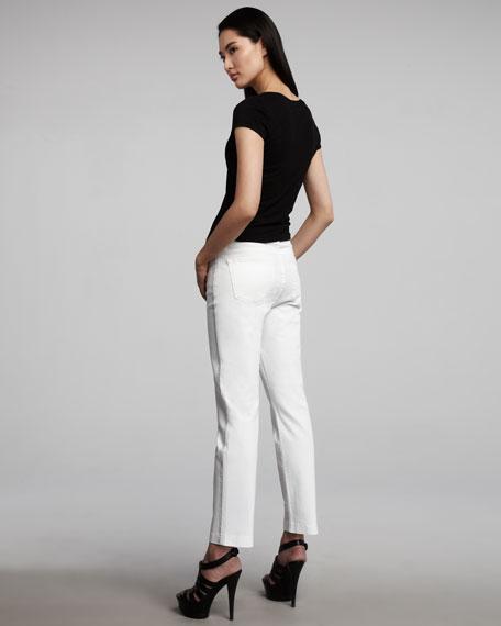 Audrey Tuxedo-Trim Ankle Pants