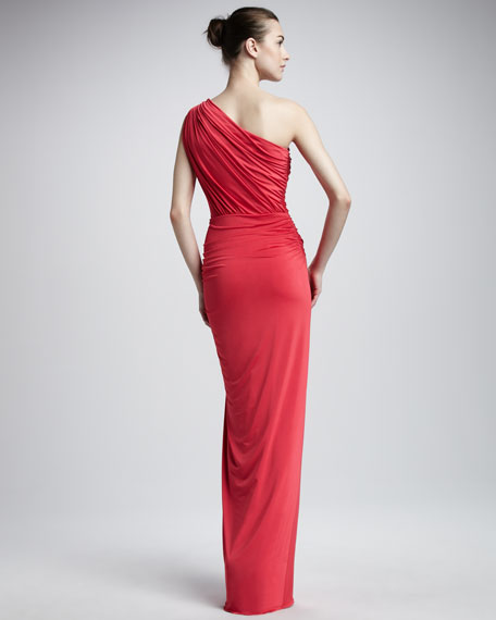 One-Shoulder Gathered Gown