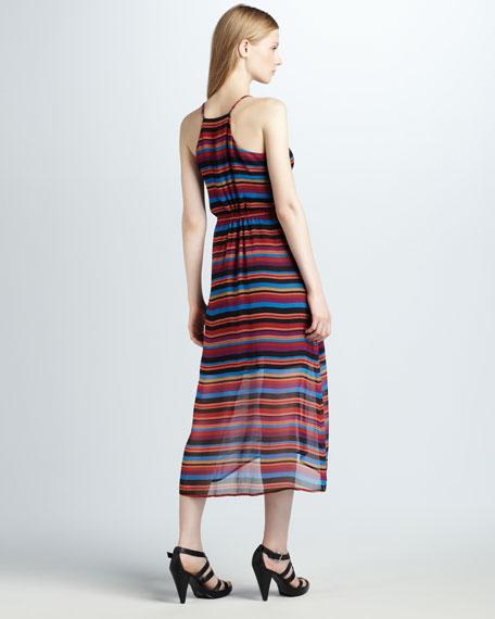 Jesbelle Striped Silk Midi Dress