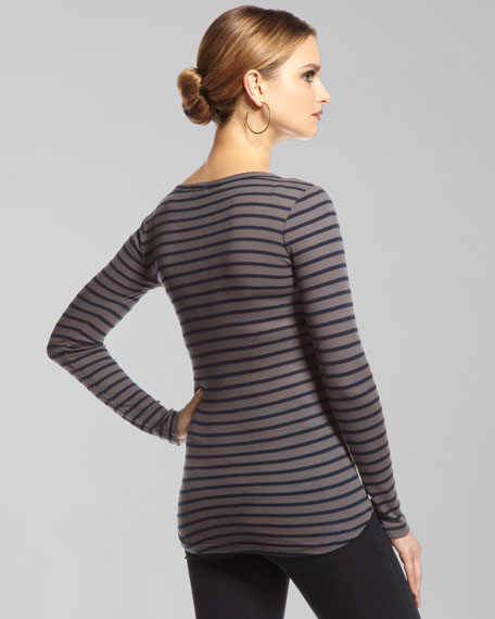 Venice Striped Thermal Henley Top