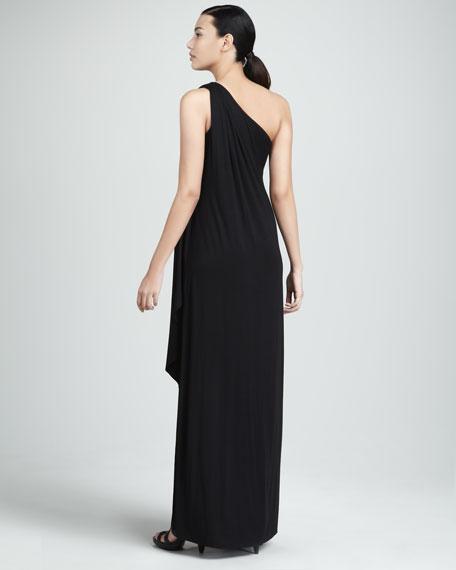 Ophelia One-Shoulder Maxi Dress, Black