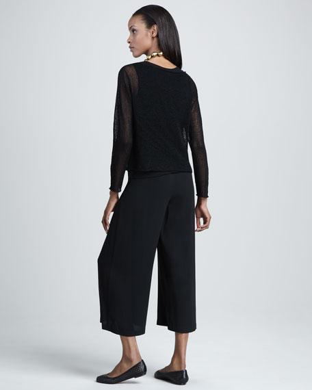 Silk-Georgette Cropped Pants, Women's