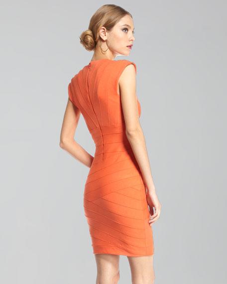 Cap-Sleeve Bandage Dress, Coral