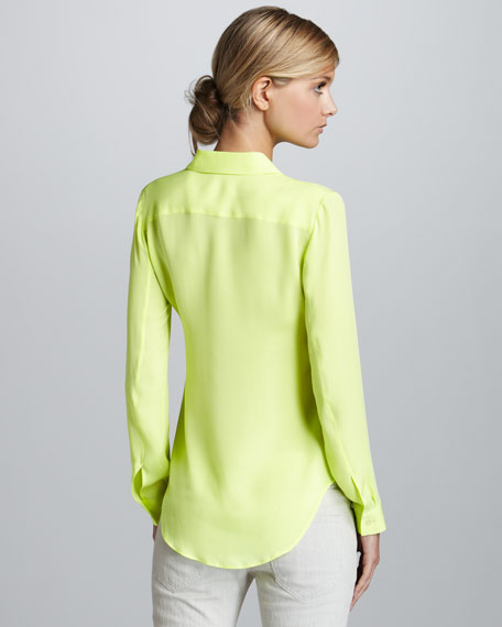 Theory Neon Yellow Blouse 8