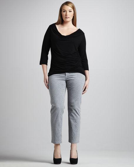 Audrey Henna-Print Ankle Pants, Petite