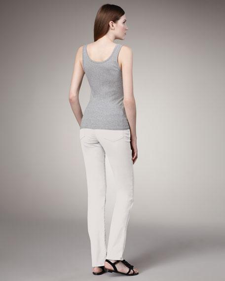 Faith Straight-Leg Jeans, White