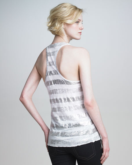 Striped Metallic Linen Tank