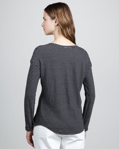 Striped Pocket Tee, Charcoal/White
