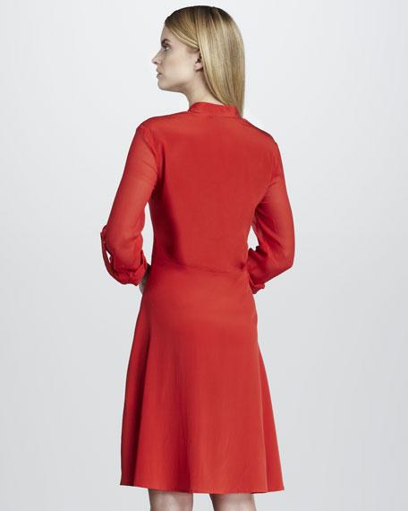 Banded-Collar Shirtwaist Dress