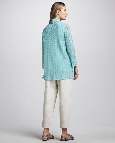 Linen Capri Pants, Natural, Women's