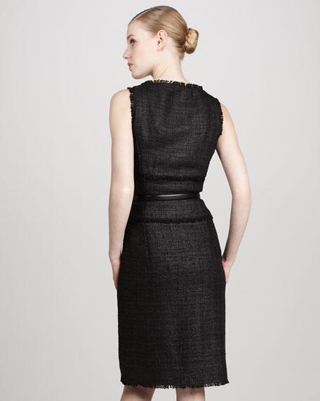 Fringe Tweed Belted Dress