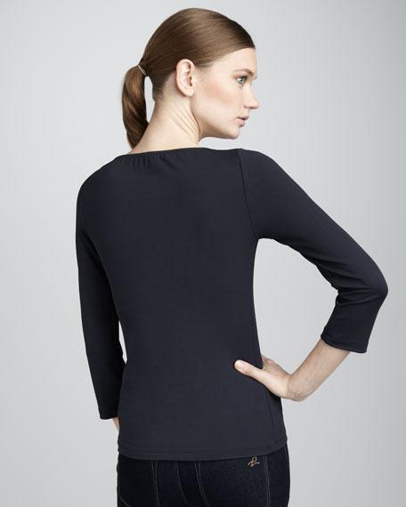 Asymmetric-Neck Top, Indigo