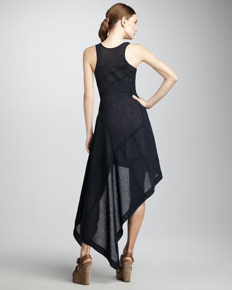 Asymmetric-Hem Maxi Dress