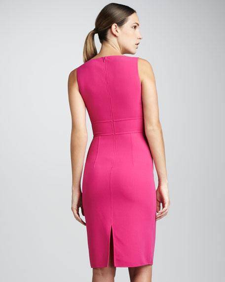 Stretch Crepe Sheath Dress, Zinnia