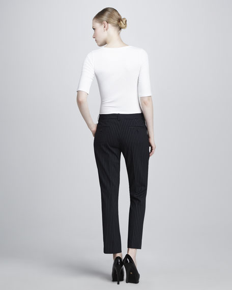 Cropped Stretch Wool Pinstripe Pants