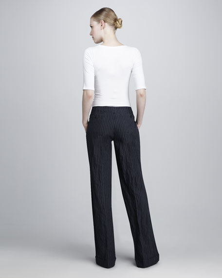 Crushed Cotton Pinstripe Pants