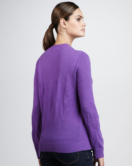 Crushed-Cashmere Asymmetric Sweater, Lilac