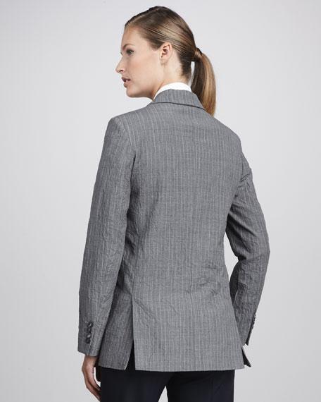 Crinkled Pinstripe Blazer