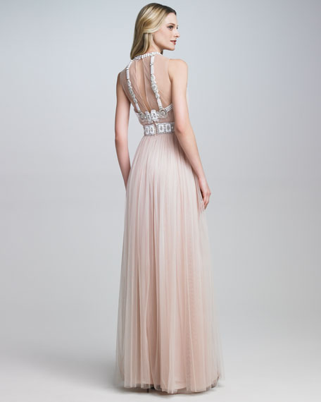 Illusion-Top Embroidered Gown
