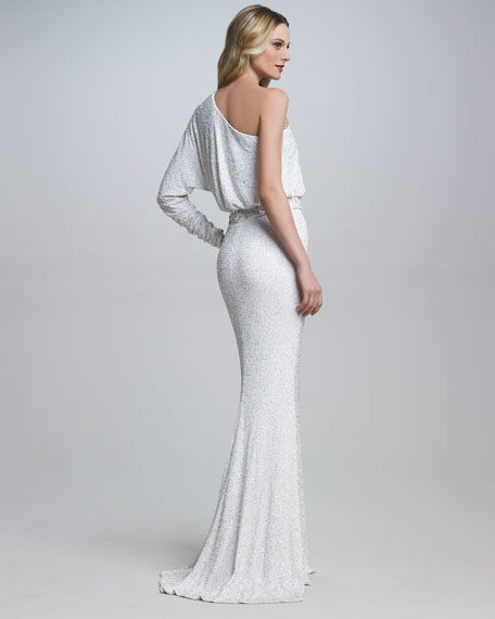 Beaded-Waist One-Sleeve Gown