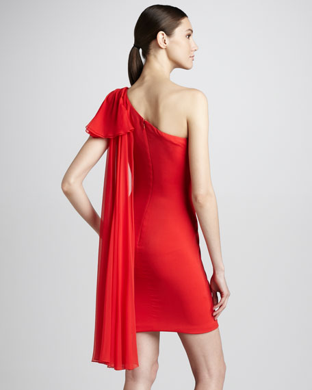 One-Shoulder Draped Cocktail Dress