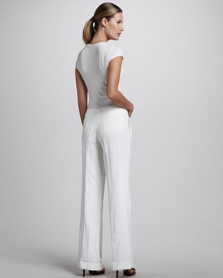 Pleated Linen Pants