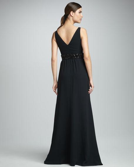 Bead-Waist Empire Gown