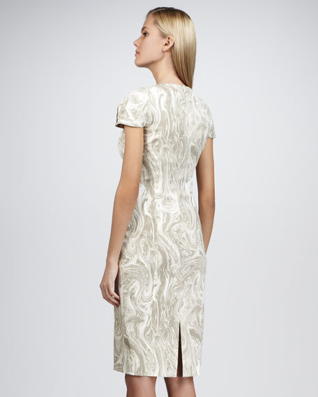Marble-Print Sheath Dress, Taupe