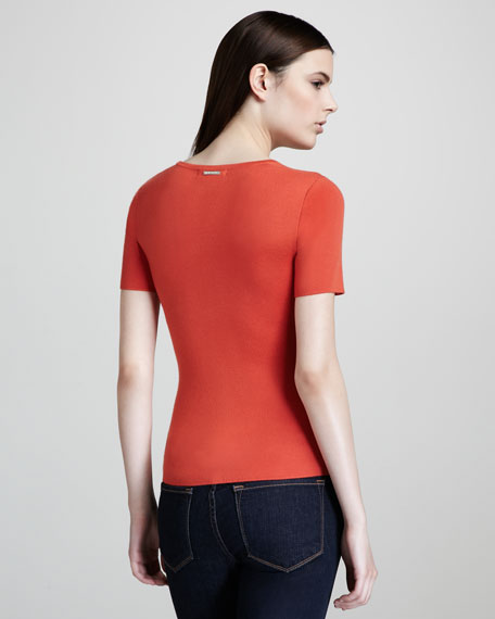 Cashmere Scoop-Neck Top, Sunset
