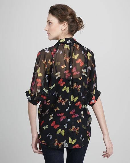 Butterfly-Print Silk Blouse