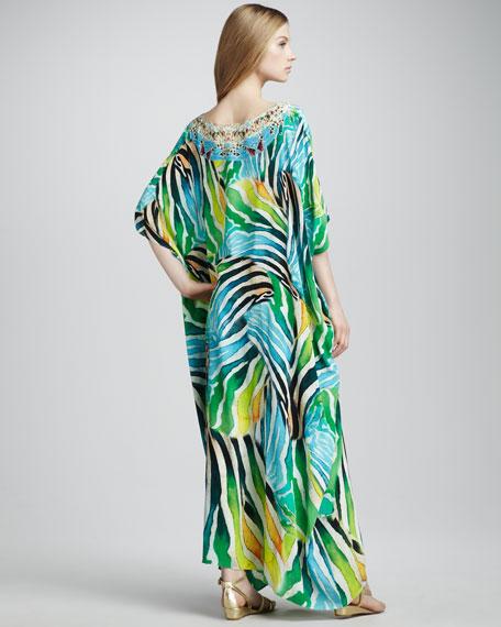 Round Zebra-Print Long Caftan
