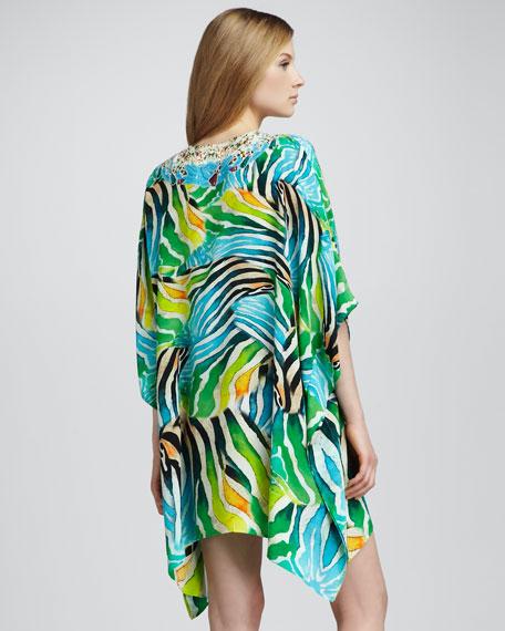 Silk Zebra-Print Short Caftan