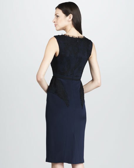 Sleeveless Lace-Trimmed Cocktail Dress