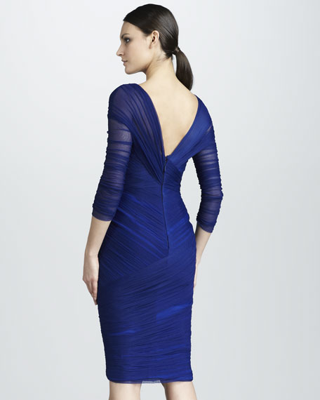 Ruched Asymmetric Cocktail Dress