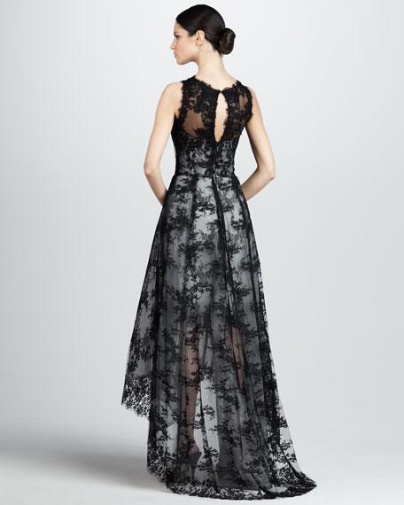 Hi-Lo Sleeveless Lace Dress