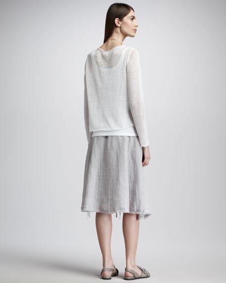Linen Pull-Cord Skirt, Women's