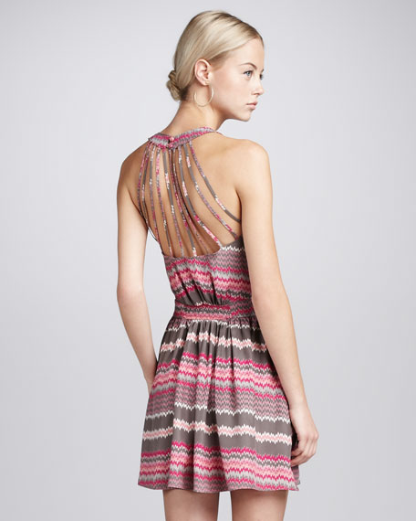 Zigzag-Print Halter Dress