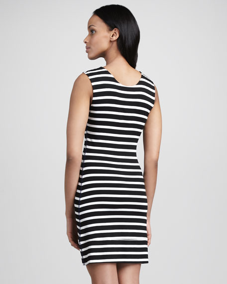 Jane Striped Jersey Dress, Black/White