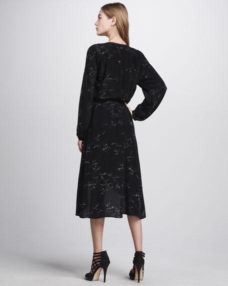 Aristotle Leather-Waist Wrap Dress