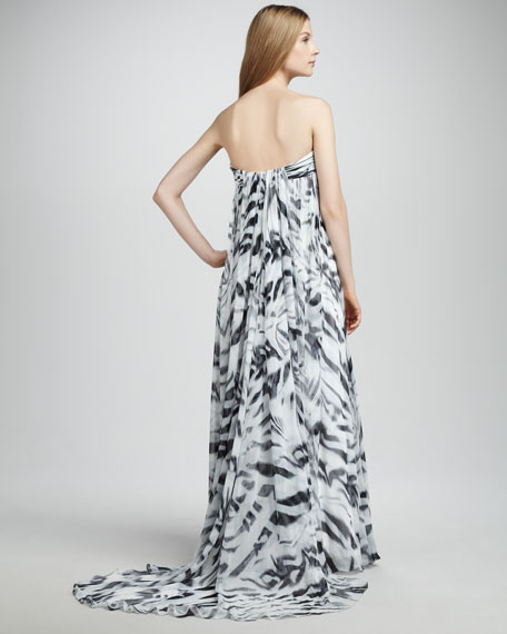 Printed Crinkled Chiffon Gown