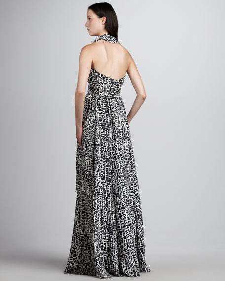 Sasha Shawl-Collar Printed Gown