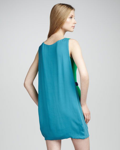 Belted Cape-Back Dress