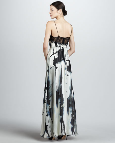 Printed Wrap-Bodice Gown