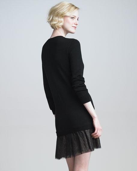 V-Neck Lace-Skirt Dress