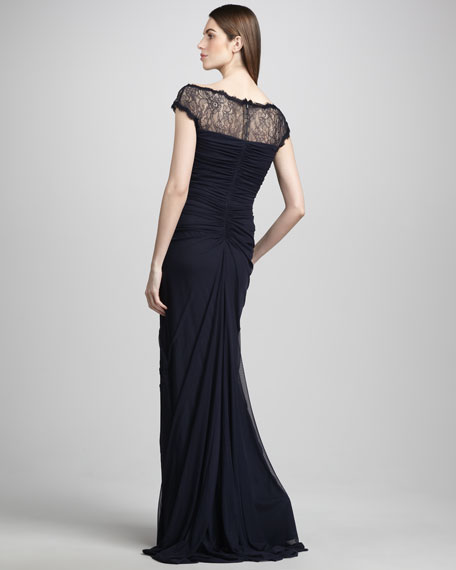 Cap-Sleeve Lace Illusion Gown