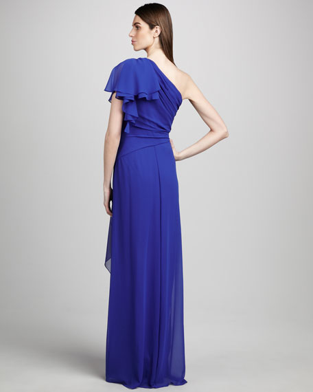One-Shoulder, Flutter-Sleeve Gown