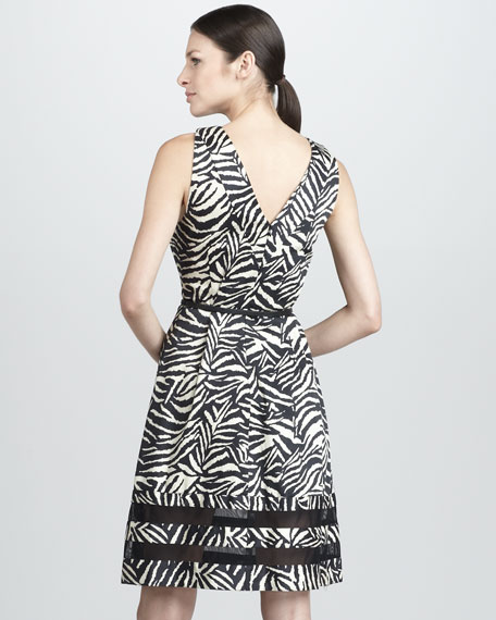 Belted Zebra-Print Halter Dress